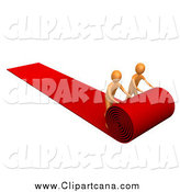 Clip Art of 3d Orange Men Unrolling a Red Carpet by 3poD