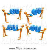 Clip Art of 3d Orange People Carrying Domain Extensions by 3poD