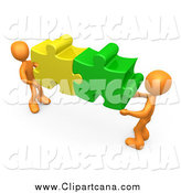 Clip Art of 3d Orange People Connecting Colorful Puzzle Pieces to Find a Solution by 3poD
