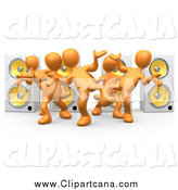 Clip Art of 3d Orange People Dancing by Speakers by 3poD
