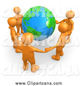 Clip Art of 3d Orange People Holding Hands Around Earth by 3poD