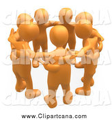 Clip Art of 3d Orange People Huddling by 3poD