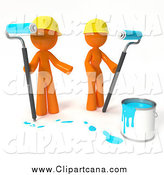 Clip Art of 3d Orange People Working with Blue Paint by Leo Blanchette