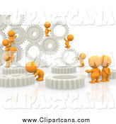 Clip Art of 3d Orange People Working with Gears by