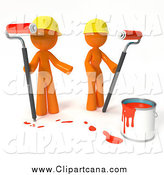 Clip Art of 3d Orange Professional Painters with a Bucket of Red Paint and Roller Brushes by Leo Blanchette