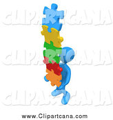 Clip Art of a 3d Blue Man Carrying a Stack of Connected Colorful Puzzle Pieces by 3poD