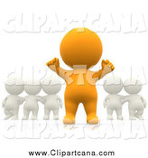 Clip Art of a 3d Cheering Orange Person Standing out from a Group by
