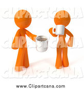 Clip Art of a 3d Couple Standing and Drinking Coffee by Leo Blanchette