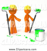 Clip Art of a 3d Couple with a Bucket of Green Paint and Roller Brushes by Leo Blanchette