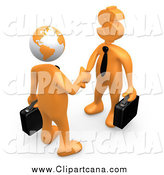 Clip Art of a 3d Globe Headed Orange Businessman Shaking Hands with a Dollar Head Man by 3poD