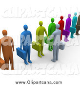 Clip Art of a 3d Gray Business Man Facing a Line of Job Applicants or Employees and Shaking Their Hands by 3poD
