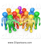 Clip Art of a 3d Group of Diverse People Putting Their Hands in a Pile by 3poD