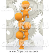 Clip Art of a 3d Group of Orange People Working with Gears by