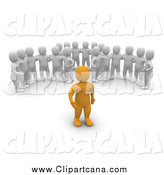 Clip Art of a 3d Groups of White Men Watching an Orange Leader Man by Jiri Moucka