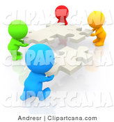 Clip Art of a 3d Multilingual Group of People Moving Puzzle Pieces by Andresr
