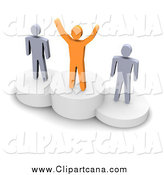 Clip Art of a 3d Orange and Gray Men on Platforms by Jiri Moucka