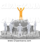 Clip Art of a 3d Orange Boss on a Pyramid over His Employees by Jiri Moucka