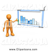 Clip Art of a 3d Orange Business Man Discussing a Bar Graph Chart During a Meeting by 3poD