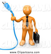 Clip Art of a 3d Orange Business Man Holding a Blue Usb Cable and a Briefcase by 3poD