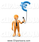 Clip Art of a 3d Orange Business Man Holding a Euro Currency Phone by 3poD