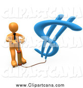 Clip Art of a 3d Orange Business Man Inflating a Dollar Symbol with a Pump by 3poD