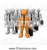 Clip Art of a 3d Orange Business Man Leading a Group of Gray Men by 3poD