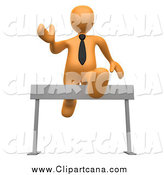 Clip Art of a 3d Orange Business Man Leaping over an Obstacle Hurdle by 3poD