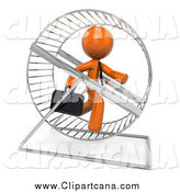 Clip Art of a 3d Orange Business Man Running in a Hamster Wheel by Leo Blanchette