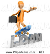 Clip Art of a 3d Orange Business Man Skateboarding on a Loan by 3poD