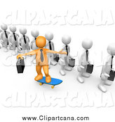 Clip Art of a 3d Orange Business Man Skateboarding past a Line of Ordinary People by 3poD