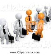 Clip Art of a 3d Orange Business Men Shaking Hands out of a Line of White Men by 3poD
