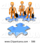 Clip Art of a 3d Orange Business Men Standing on Connected Puzzle Pieces, Looking at a New Piece by 3poD