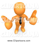 Clip Art of a 3d Orange Businessman Giving Two Thumbs up by 3poD