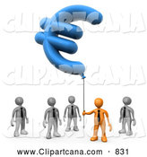 Clip Art of a 3d Orange Businessman Holding Euro Balloon over Gray Men by 3poD
