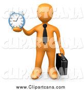 June 19th, 2014: Clip Art of a 3d Orange Businessman Holding out an Alarm Clock by 3poD