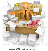 Clip Art of a 3d Orange Businessman in a Cluttered Office by 3poD