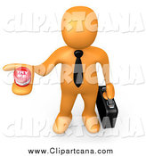 Clip Art of a 3d Orange Businessman Job Hunter Holding a Try Me Button by 3poD