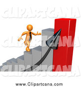 Clip Art of a 3d Orange Businessman Racing up a Bar Graph by 3poD