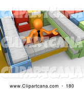 Clip Art of a 3d Orange Businessman Shrugging and Surrounded by Long Filing Cabinet Drawers by 3poD