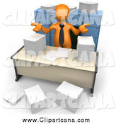 Clip Art of a 3d Orange Businessman Shrugging over Papers at His Desk by 3poD
