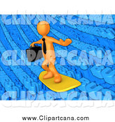 Clip Art of a 3d Orange Businessman Surfing on Blue Word Waves by 3poD