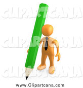Clip Art of a 3d Orange Businessman with a Green Pencil by 3poD