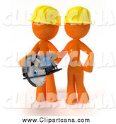 Clip Art of a 3d Orange Construction Couple Using a Saw During a Home Improvement Project by Leo Blanchette