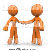 Clip Art of a 3d Orange Couple About to Embrace by Leo Blanchette