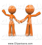 Clip Art of a 3d Orange Couple Holding Hands and Waving by Leo Blanchette