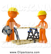 Clip Art of a 3d Orange Couple Putting Lumber on a Saw Horse by Leo Blanchette
