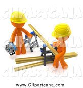 Clip Art of a 3d Orange Couple Sawing Lumber Together by Leo Blanchette