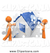 Clip Art of a 3d Orange DIY Couple Assembling Their Puzzle House by Leo Blanchette