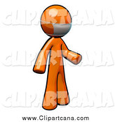 Clip Art of a 3d Orange Doctor Wearing a Mask by Leo Blanchette