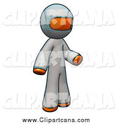 Clip Art of a 3d Orange Doctor Wearing Complete Coveralls by Leo Blanchette